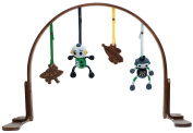 Finn + Emma Organic Cotton Baby Boy Wood Play Gym - Robot Dark Wood