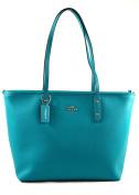Coach Crossgrain Leather City Zip Tote Shoulder Bag Purse Handbag, Turquoise