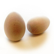 6 Unfinished Wood Hen Eggs with Flat Bottoms for Display 6.4cm Tall
