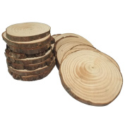 Fuhaieec 15pcs 10cm - 12cm Unfinished Natural Wood Circles with Tree Bark Log Discs for DIY Craft Christmas Rustic Wedding Ornaments
