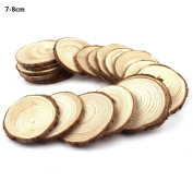 Fuhaieec 30pcs 7.1cm - 8.1cm Unfinished Natural Wood Circles with Tree Bark Log Discs for DIY Craft Christmas Rustic Wedding Ornaments