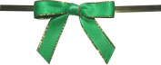 Small Emerald Twist Tie Bows with Gold Edges- 250pc