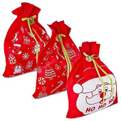 3 Giant Christmas Gift Bags 90cm x 110cm with Gift Tag; Made of Nonwoven Poly Fabric by Gift Boutique