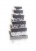 Christmas Nested Gift Box Tower, Set/6, Silver Snowflakes