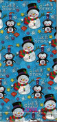 CHRISTMAS SNOWMAN AND PENGUIN GIFT WARP PAPER ( 5 SHEETS WITH PATTERN AND 5 SHEETS PLAIN RED)