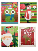 4 Festive Christmas Holiday Gift Bags with Tags