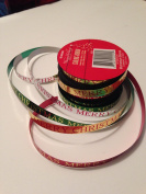 Merry Christmas Spool of 4 colours Gold Silver Red Green 1cm Curling Ribbon 22 - yards total