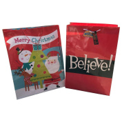 2 JUMBO Super Strong Christmas Gift Bags Believe Santa XL Bottoms