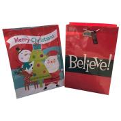 2 JUMBO Super Strong Christmas Gift Bags Believe Santa XL Bottoms