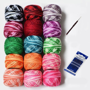 LE PAON Dyeing 9g Cotton Balls 1215Y 15 Balls All Different Colours Strand Cotton Floss Embroidery Perle/pearl Cotton Threads for Crochet Hardanger Cross Stitch Needlepoint Hand Embroidery