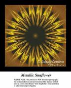 Fractal Counted Cross Stitch Patterns, Metallic Sunflower