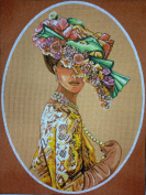 """Needlepoint Kit """"Lady with hat"""" 11.8""""x15.7"""" (30x40cm) printed canvas 074"""