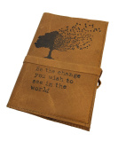 Handmade Leather Journal 10cm X 15cm Be the Change You Wish to See in the World Tree Design (Brandy)