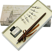 AIVN Natural Handcrafted Calligraphy Pen Set - Writing Case with Black Ink Cartridges