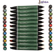 Lasten 12 Cols Dual Tips Sketch Marker Pens, Broad & Fine Tip, Art Markers, Art Pens, Drawing, Sign, Design Markers In Brilliant Colours, Great For Painting Colouring