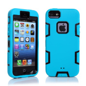 iPhone 5S Case, iPhone SE Case, iPhone 5 Case, VPR 3 in 1 Shock Absorbing Case, Rubber Combo Hybrid Impact Silicone Armour Hard Case Cover for Apple iPhone 5 5S SE