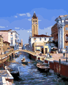 CaptainCrafts New Paint by Numbers 41cm x 50cm for Adults, Kids LINEN Canvas - Water City Of Venice