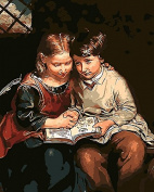 Arts Language Wooden Framed 41cm x 50cm Paint by Numbers Diy Painting -Little brother and sister