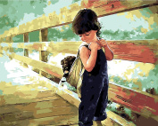 Arts Language Wooden Framed 41cm x 50cm Paint by Numbers Diy Painting -Boy carrying a puppy