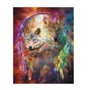 TTnight Dream Catcher Wolf 5D Diamond Painting DIY Cross Stitch Kit 30cm x 36cm