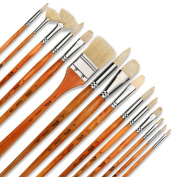 Artify 15 pcs Oil Professional Artist Grade Paintbrush Set Perfect for Oil Painting with a Large Assortment and Free Carrying Box