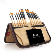 Surblue Paint Brush Set (14 Pcs) for Watercolour, Acrylic, Gouache, Oil and Face Painting with Free Organiser Holder - Khaki
