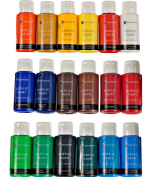 Acrylic Paint Set By Colour Technik, LARGE SET Of 18x59ml (2-Ounce) Bottles, Best Colours For Painting Canvas, Wood, Clay, Fabric, Nail Art and Ceramic, Rich Pigments, Premium Quality, Perfect Gift Idea