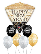 Happy New Year Diamond Shaped Balloon Bouquet with Coloured Latex