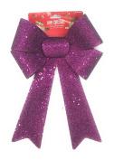 Purple Glittery Bow Happy Christmas Sequence Enhanced Glittery Bow 23cm x 36cm