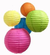 Charmed 5 assorted colour yellow, orange blue, green and fucshia , size paper lanterns in 6 , 8 and 23cm .