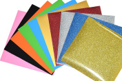 GLITTER and PU flex Heat Transfer Vinyl for T Shirts garments bags and other fabrics - 4 Glitter and 6 PU Sheets 25cm X 25cm - Assorted colours - Iron on Vinyl