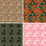 FOUR 30cm x 30cm Blinggasm Vinyl Sheets Set, Camo Pattern Outdoor Vinyl 058
