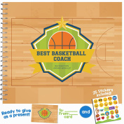 """BASKETBALL COACH GIFT - Unconditional Rosie """"Best Basketball Coach"""" Recognition Award Booklet with Matching Card and Emoji Stickers!"""