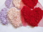 YYCRAFT 3pcs Shabby Chic Chiffon Rosette Flower 16cm Heart Applique Chiffon Rose Heart Lace Trim Wedding Craft DIY Supply Valentine's day-3 Colours