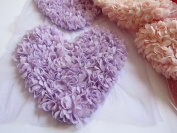 YYCRAFT 4pcs Shabby Chic Chiffon Rosette Flower 16cm Heart Applique Chiffon Rose Heart Lace Trim Wedding Craft DIY Supply Valentine's day