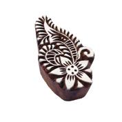 Elegant Paisley Flower Motif Wooden Stamp for Printing