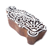 Handcrafted Paisley Flower Pattern Wood Block Print Stamp