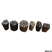 Lot of 6 Pcs Brown Hand Carved Floral Stamp Printing Block Wooden Textile Stamp Block Print Tattoo Indian Art Decor