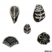 Hancrafted Indian Wooden Printing Block Lot of 5 Pcs Art Decorative Stamps Textile Tattoo Carving Work Wallpaper Stamp