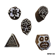 Art Decorative Scrapbook Stamp Floral Wooden Textile Stamps Hand Carved Printing Block Indian Brown Tattoo Lot of 5 Pcs Wooden Stamps