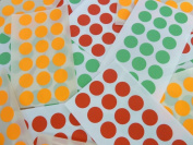 "Minilabel Small Round 13Mm (0.5"") Red Fluorescent Orange & Green Circular Sticky Labels, Dot Stickers"
