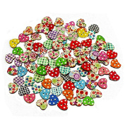 ROSENICE Mixed Colour Heart Shaped 2 Holes Wood Sewing Buttons - 100 Pieces
