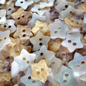 100pcs Star Shape Mother of Pearl Shell Button 11MM 2 Holes Sewing Craft