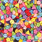 400pcs Assorted Colours Shapes Tiny 6MM Resin Button 2 Holes Sewing Craft