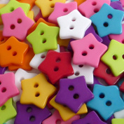 100pcs Mixed Colours Star Shape 15MM Resin Button 2 Holes Sewing Craft