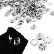 100 Sets Press Studs snap fasteners/popper 9.5mm Silver