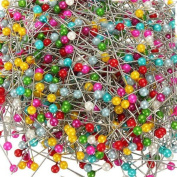 800Pcs Round Pearl Head Dressmaking Pins Weddings Corsage Florists Sewing Pin