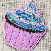 Ioffersuper Ice Cream Embroidery Cloth Iron On Patch Sewing Motif Applique DIY 04Pink