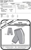 Children Kids Oregon Racers Biking Running Bicycle Shorts #410 Sewing Pattern