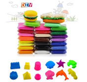 24PCS Fireboomoon Colourful Kids Modelling Clay Air Dry Clay Studio Toy 24 Bright Colour,No-Toxic Modelling Clay, Creative DIY Crafts, And Clay Moulds 6PCS mini castles And sea animals.